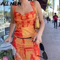 allneon streetwear printing orange co ord sets vintage 2000s cowl neck cami tops and high waist slit midi skirt 2 piece suit