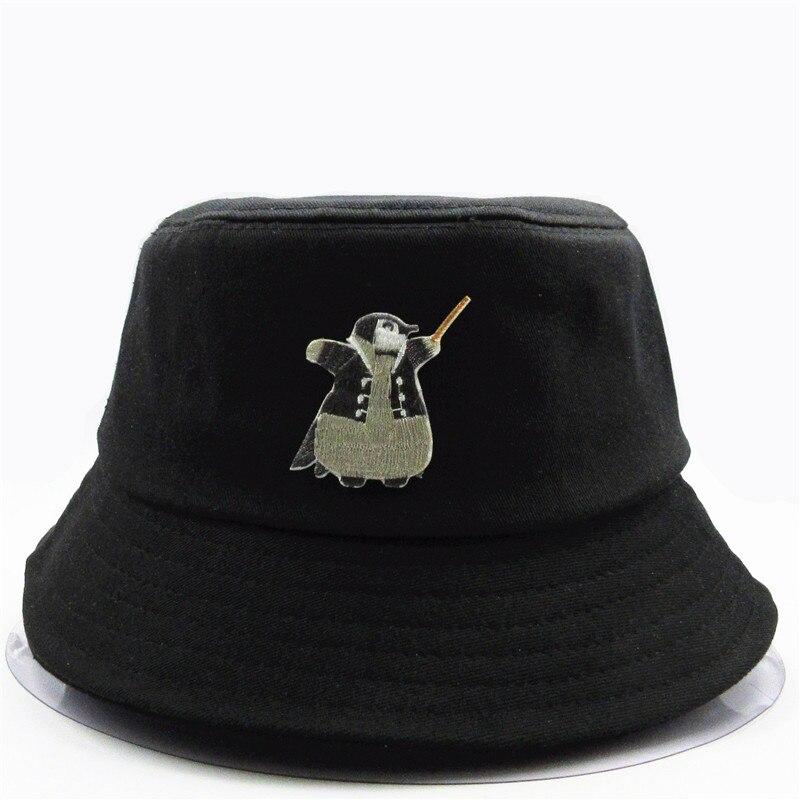 2020 nuevo estilo de algodón pingüino animal bordado sombrero de pescador sombrero de viaje al aire libre sombrero para el sol gorra sombreros para hombres y mujeres 384