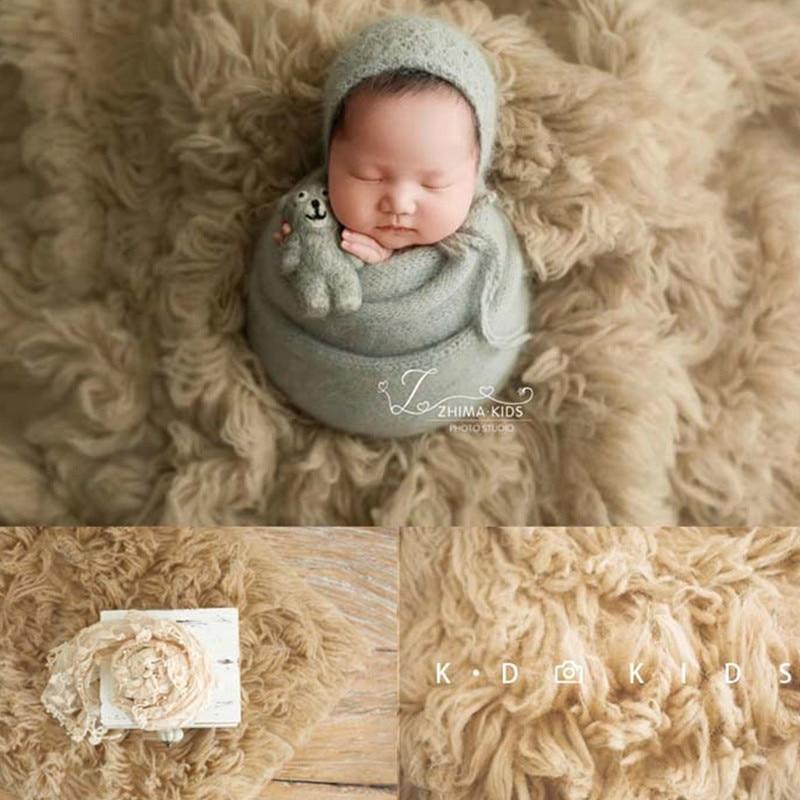 Newborn Photography Props Big Size Flokati 150x120cm Hand-Knitted Pure Greek Wool Blanket Baby Photo Boy Girl Background Mat