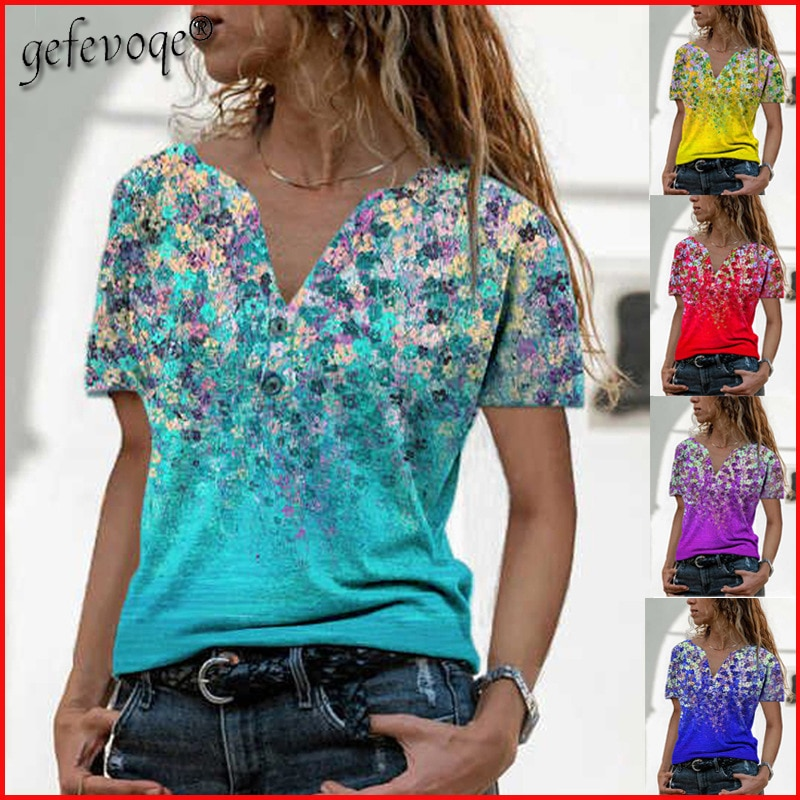 Summer Women Clothing V-neck Button Casual Floral Printed T Shirt Loose Plus Size Tops Short Sleeve Tees Tshirts Mujer Camisetas