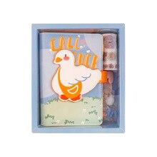 Cute Cartoon motyw zwierząt piękny A6 Spiral Diary Set Lined + Grided Paper 100 arkuszy Notebook + naklejka + Memo + taśma Washi + klip + długopis