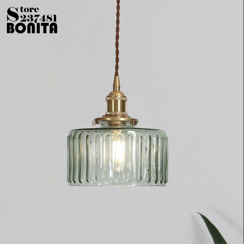 الشمال خمر النحاس الزجاج droplight منحوتة الزجاج المياه موجة نمط شنقا أضواء النحاس قلادة الإضاءة الزجاج أباجورة