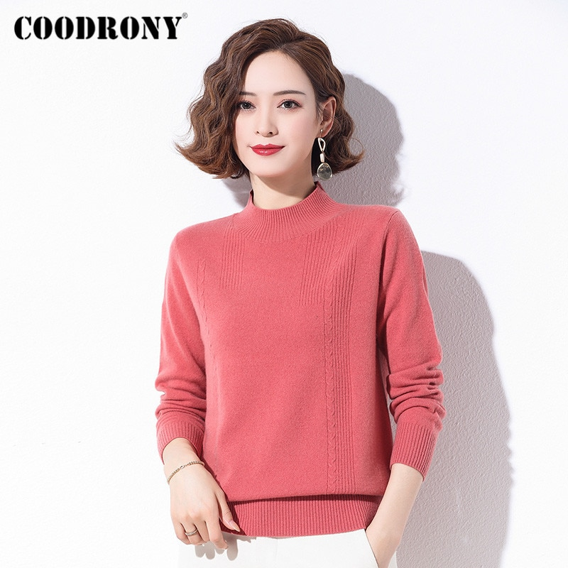 COODRONY-سترات صوف ميرينو محبوكة للنساء ، سترات شتوية غير رسمية للنساء ، سترات عصرية عالية الجودة ، W1241