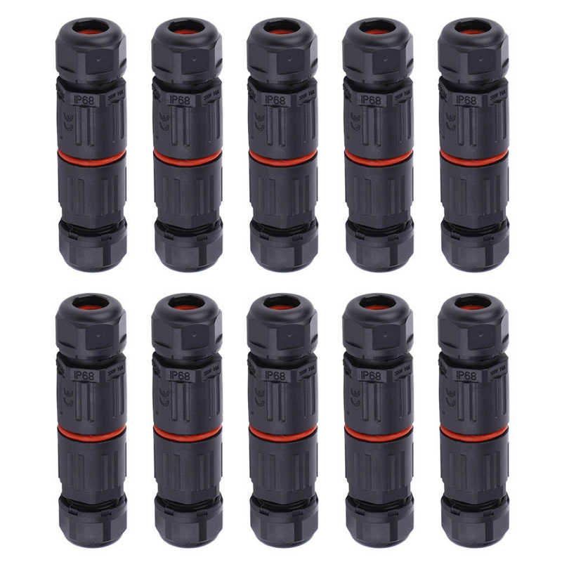 10pcs IP68 Waterproof 3Pin Connectors Electrical Wire Cable Connector Outdoor Plug Socket Electrical