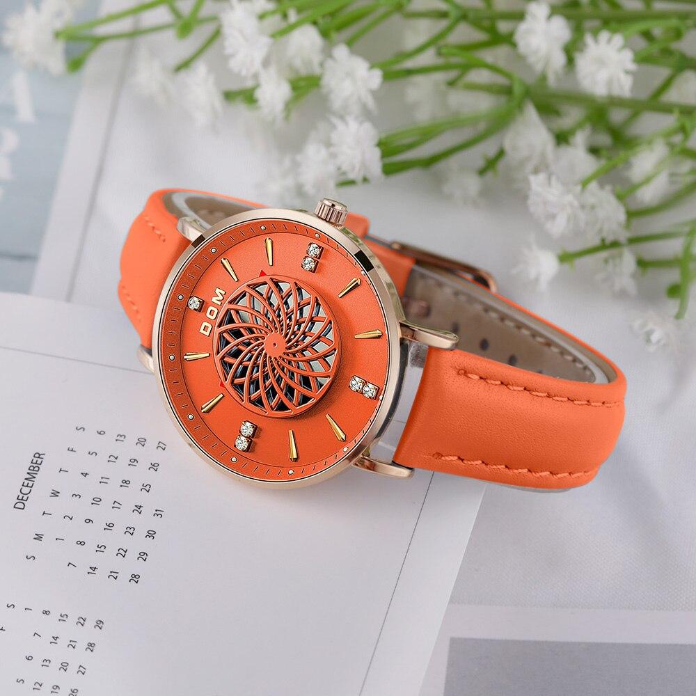 New Women Watches Luxury Brand Ladies Dress Wristwatch Waterproof Leather Elgent Orange Women Clock Montre Femme G-1285GL enlarge