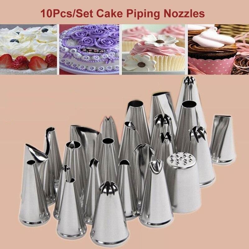 10 Pçs/set Bolo Piping Bicos Dicas Flor Ferramentas de Decoração Do Bolo de Creme de Confeiteiro Pastelaria Aço Inoxidável Boca
