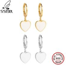 S'STEEL Minimalist Personality Fashion Love Heart Circle Drop Earrings Temperament 925 Sterling Silv