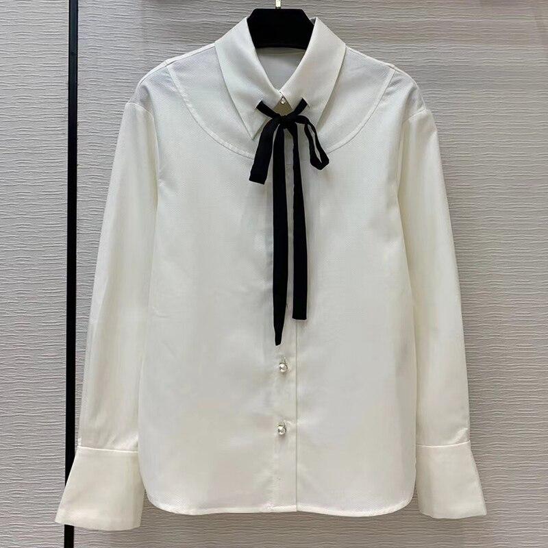 Elegantes Blusas Brancas Mulheres Camisa 2020 Da Marca de Manga Longa Blusa Tops Com Laço Preto