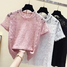 Manches courtes dentelle chemise femme 2020 été nouveau Super Fairywhite rose mousseline de soie chemise Blouse dentelle Blouse filles dames dentelle Blusas