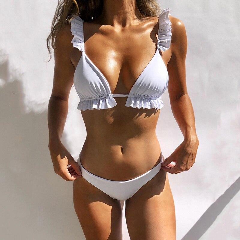 Conjunto de Bikinis de hombro con volantes negro brasileño traje de baño para mujeres Sexy 2019 Micro Bikini vendaje traje de baño trajes de baño para mujeres Biquini
