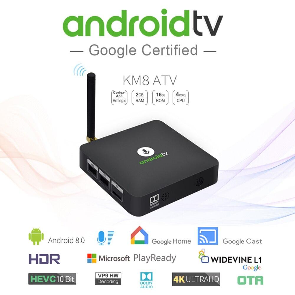 MECOOL TV Box KM8 ATV Smart Android 8.0 TV Box IR Voice IR Remote Control S905X 2G/16G BT4.2 Support 3D WiFi LAN 4K Set-Top Box