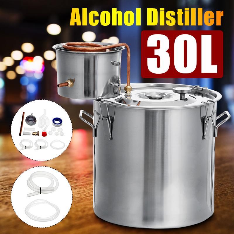 30L 8 غال المقطر Moonshine الكحول الفولاذ المقاوم للصدأ المنزل لتقوم بها بنفسك المياه النبيذ زيت طبيعي عدة تخمير 304 الفولاذ المقاوم للصدأ المرجل