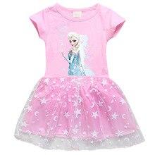 Disney dondurulmuş 2 prenses Elsa çocuklar için bebek kız elbise prenses Elsa yaz pamuk parti doğum günü kız elbise oyuncak