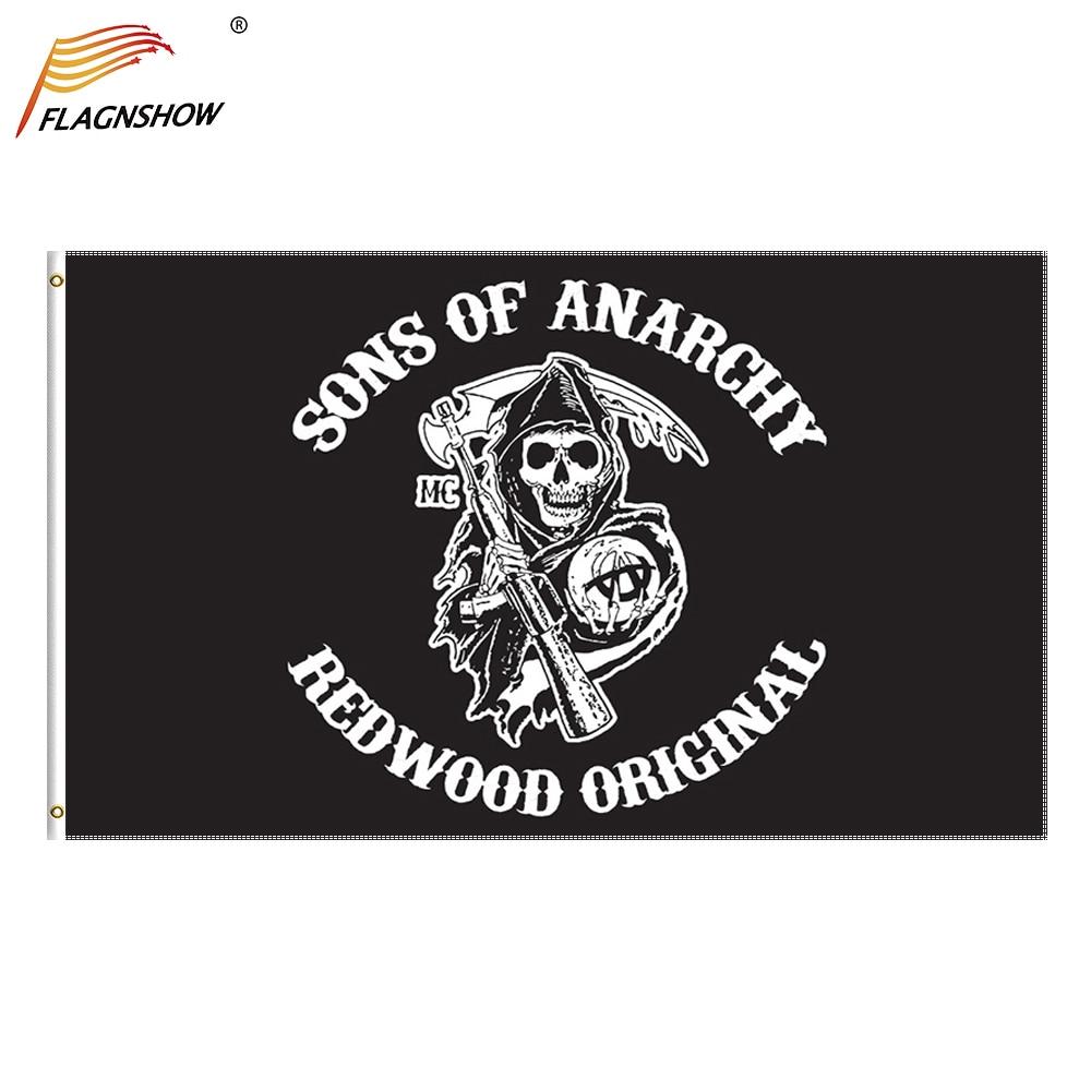Флаги с принтом сынов анархии из полиэстера для украшения