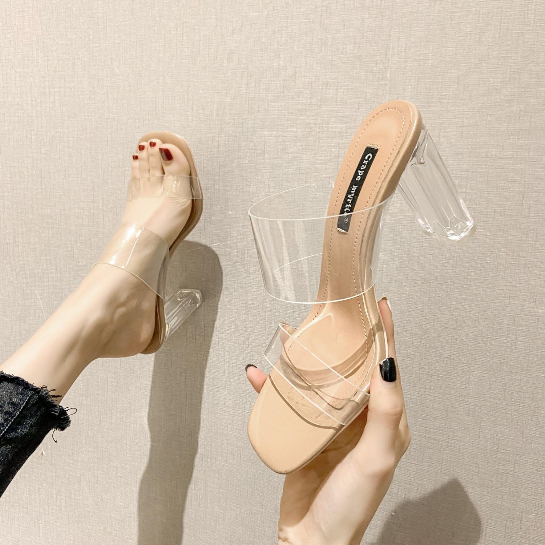 2021 Summer New Transparent One Line Sandals Women High Heel Crystal Sexy Heeled Fashion
