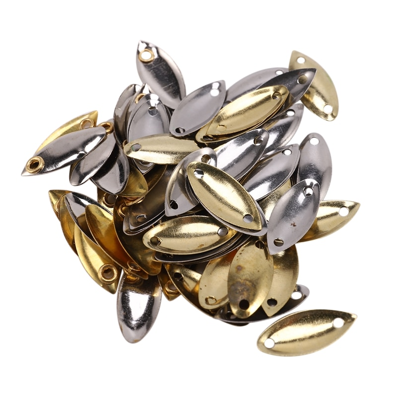 137Pcs Fly Fishing Lure Kit with Thrower Sequin Noise Silver Gold Metal Small Spoon Spinner Lure Tackle Willow Blades Smooth DIY enlarge