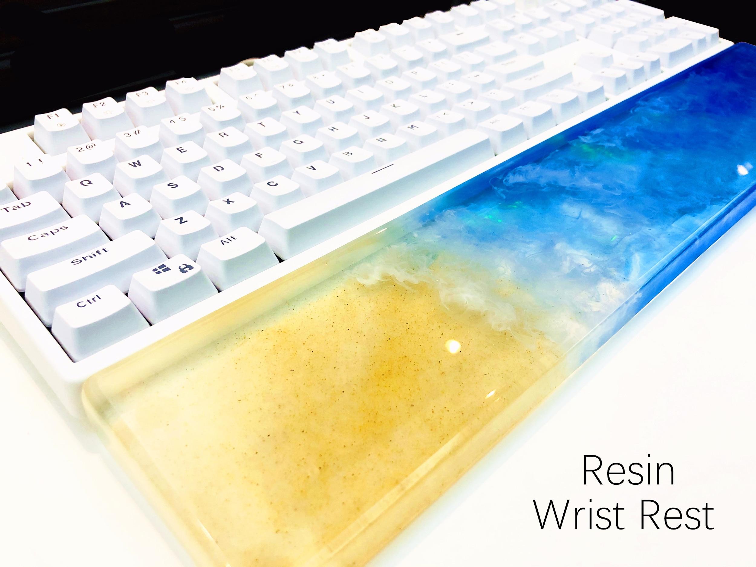 Hawaii Beach Resin Wrist Rest Handmade Transparent Resin Artisan Wrist Pad Ergonomic For 87 104 Keys Mechanical Gaming Keyboard