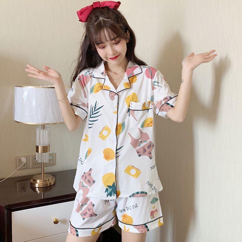 Conjunto de pijama de verano fino suave y cómodo conjunto de ropa de cama estampada de dibujos animados pantalones cortos sueltos de dos piezas