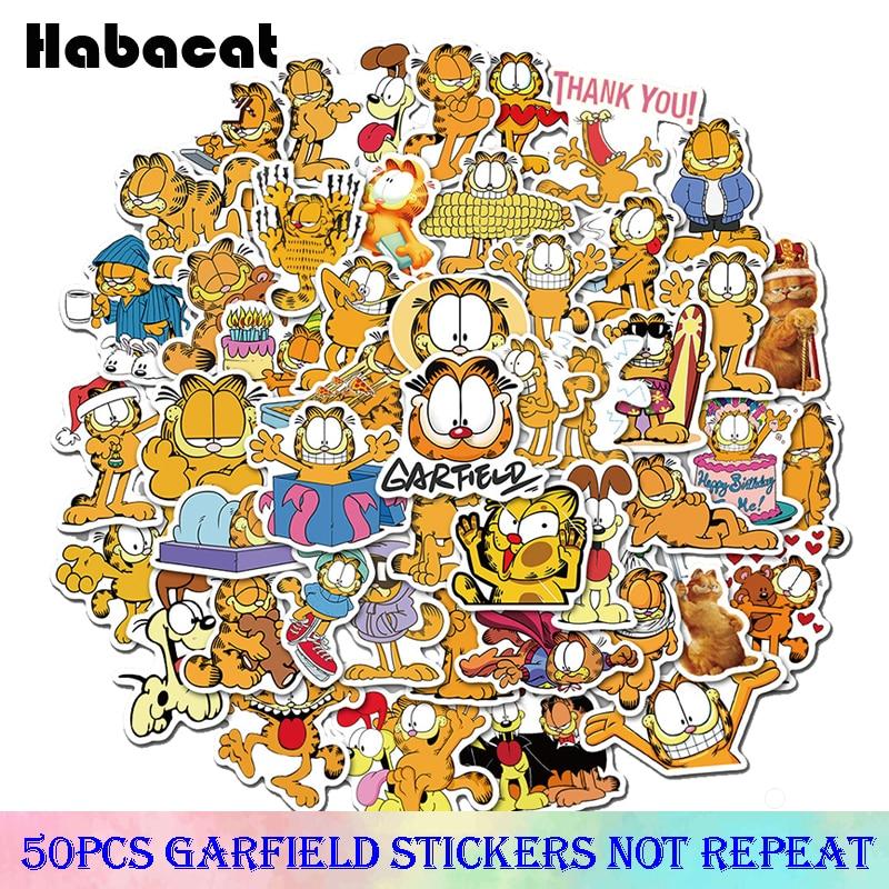 50Pcs Garfield Graffiti Stickers Waterproof For on Skateboard Hydro Fask Laptop Suitcase Decal Cute Animal Cartoon Cat Stickers