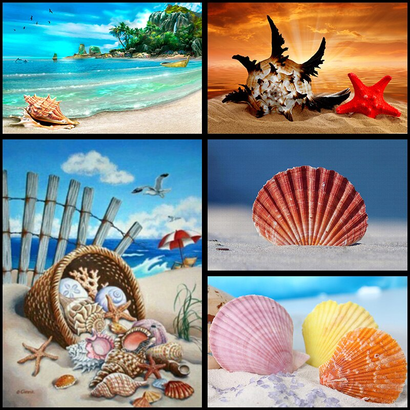 5DDiamond pintura de mosaico de diamantes bordado paisaje playa Shell Star decoración pintura