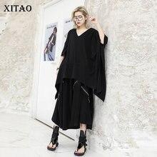 XITAO grande taille irrégulière blanc noir t-shirt mode lâche 2020 printemps femmes vêtements col en V manches chauve-souris Match tous XJ4300