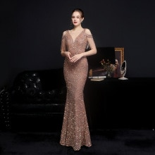 Partysix 2021 Women Sexy V Neck Spaghetti Straps Sequin Evening Dress Female Off Shoulder Elegant Pa
