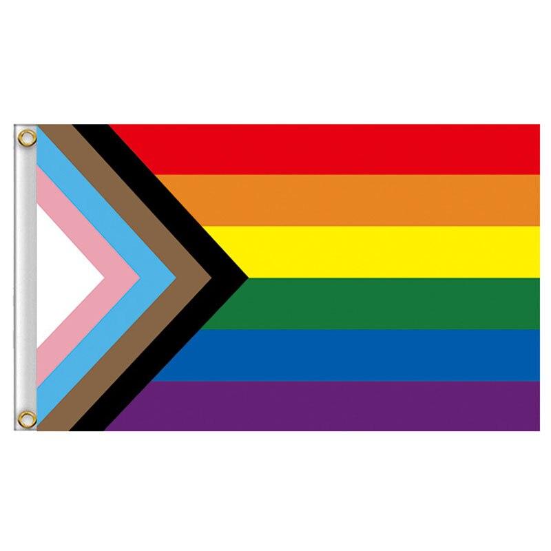 3X5 Feet LGBT Gay Pride Rainbow Progress Flag Polyester Pro Home Decor