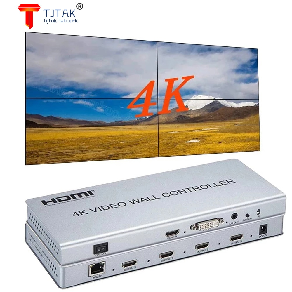 2X2 Video Controlador de Parede 1 HDMI/DVI Entrada 4 HDMI Saida 4K TV Processador Imagens Costura Video Parede Processador