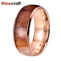8mm tungsten rose gold color wood ring for women men domed polished shiny comfort fit