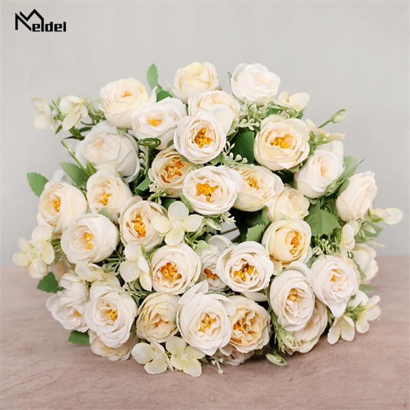10 kepala bunga buatan bunga mawar pengiring pengantin 5 cawangan - Aksesori perkahwinan - Foto 3