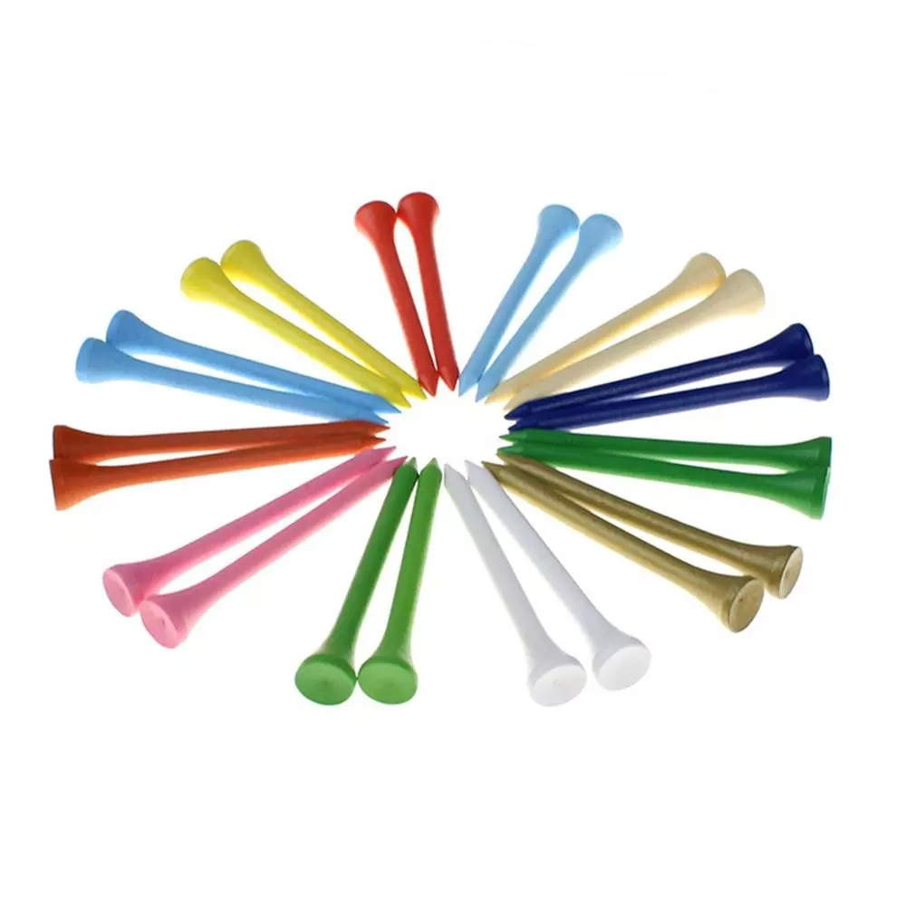 100pcs Deluxe Wood Golf Tees 70MM Professional Wooden Holder Supplies Rainbow Color Golf Accessories