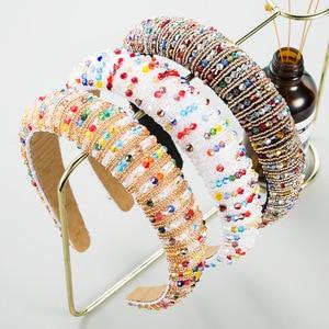 Красочные повязки на голову с кристаллами новые модные бриллиантовые повязки для волос для женщин дизайнерская повязка на голову полная стразы женские аксессуары для волос