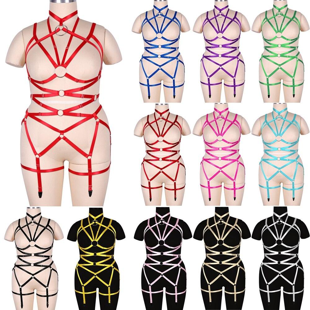 مجموعة ملابس داخلية مثيرة بحزام رباط وضيق للنساء من Goth ملابس داخلية مثيرة ومرنة مع حزام للجوارب من النوع Bdsm مقاس كبير
