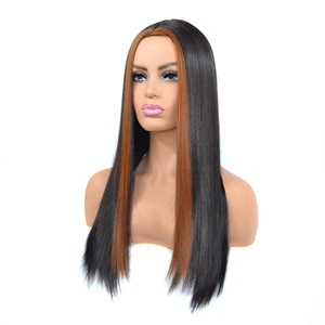 Black Wig with Light Brown Bangs Long Straight Wigs for Women 24 Inch 60cm Ombre Wig Heat Resistant Synthetic Wigs