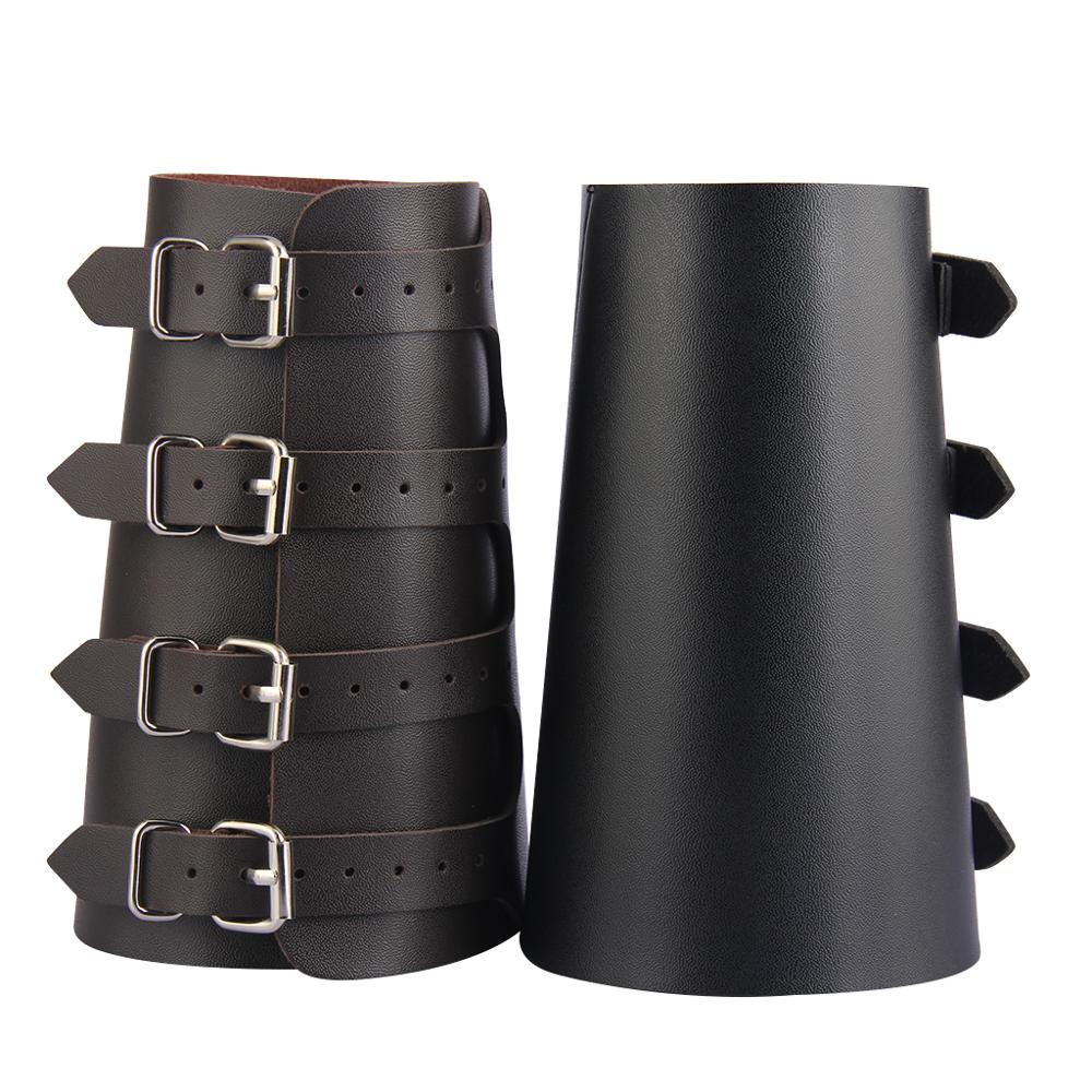 Pu Leather Arm Armor Unisex Gauntlet Wristband Wide Bracer Protector Cuff String Steampunk Bangle Buckle Bracelet Cosplay