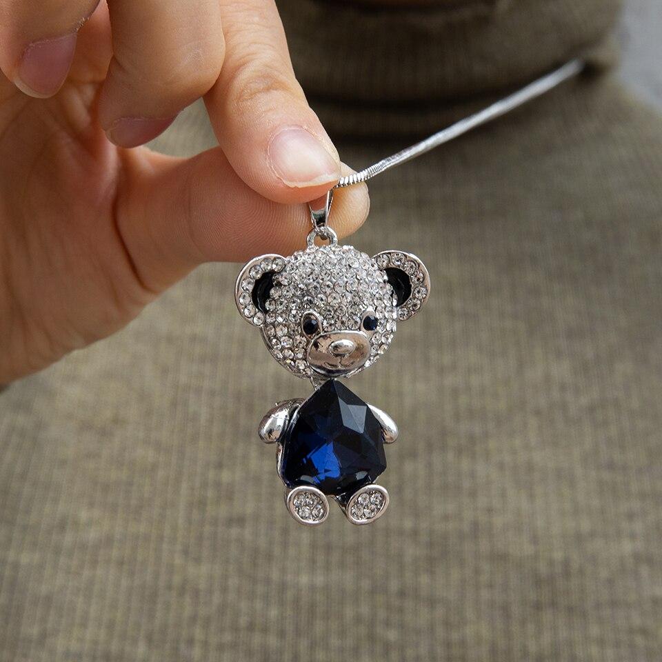 جديد رومانسية الحلو لطيف الدب الجنية قلادة الاكريليك الزركون سترة سلسلة للمرأة فتاة الذكرى مجوهرات هدايا عيد الميلاد
