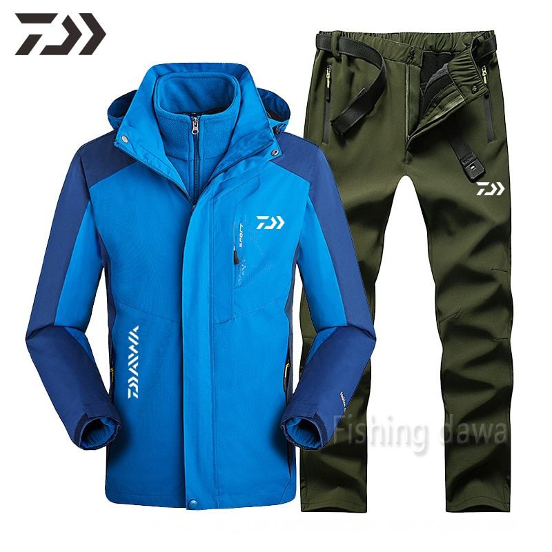 Winter Fishing Suit Removable Thicken Thermal Outdoor Fishing Clothing Daiwa Waterproof Windproof Set Patchwork Breathable Wear enlarge