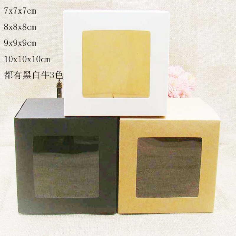7*7*7 cm/8*8*8 cm/9*9*9 cm/10*10*10 cm preto/branco/papel kraft caixa de doces quadrados presente do favor da festa de casamento caixas com janela 50 pçs/lote