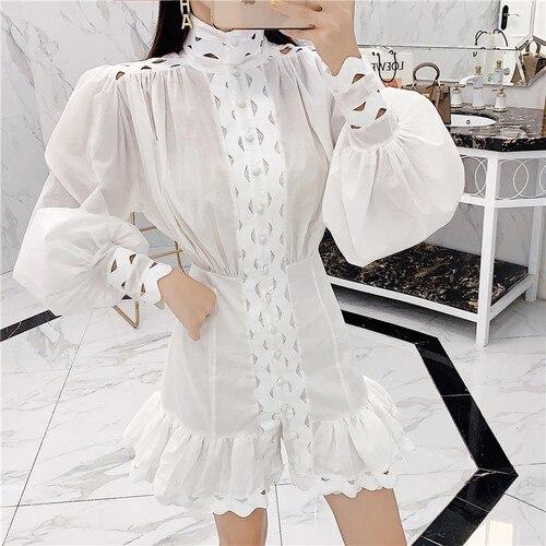 2019 otoño moda blanco cuello alto Vestido de manga de linterna Runway mujeres Single-breasted Sexy Mini vestido Mujer Vestidos Dr790