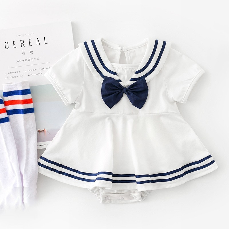 Yg brand children's clothing summer newborn boys and girls Navy collar bow triangle climbing suit ba