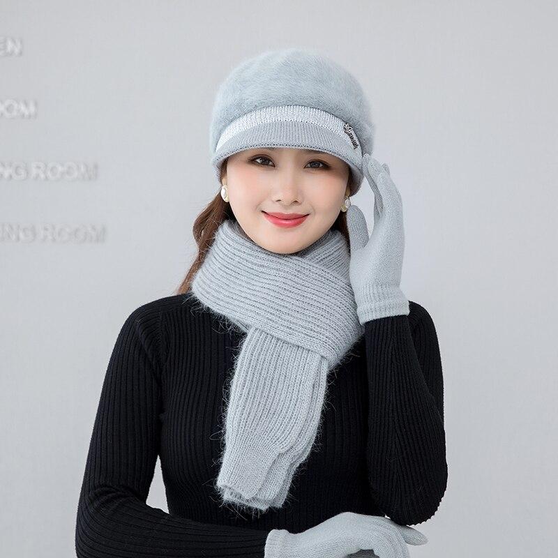 Зимняя женская шапка, шарф, перчатки, комплект из трех предметов, сохраняющие тепло, зимние комплекты, женские элегантные красивые русские ш...