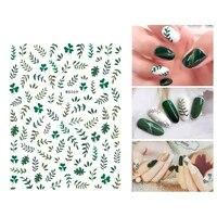 10pcs female nail slider sticker green papaya fruit olive branch nail decoration beauty