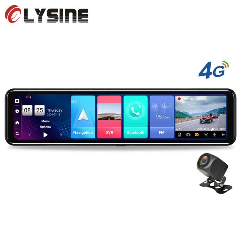 """Cámara de salpicadero con lente Dual, DVR para coche con Android 8,1, 2G + 32G Rom, cámara de salpicadero con espejo multimedia 4G GPS Wifi ADAS, 12"""""""