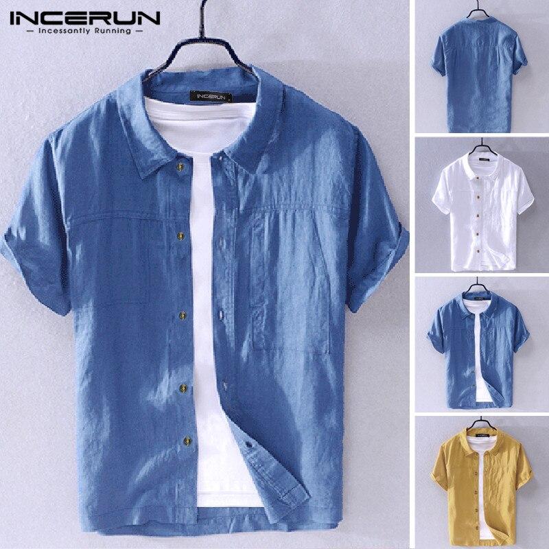 2020 männer Hemd drehen-unten Kragen Feste Beiläufige Streetwear Taste Kurzarm Harajuku Camisas Hombre Baumwolle Shirts INCERUN S-5XL