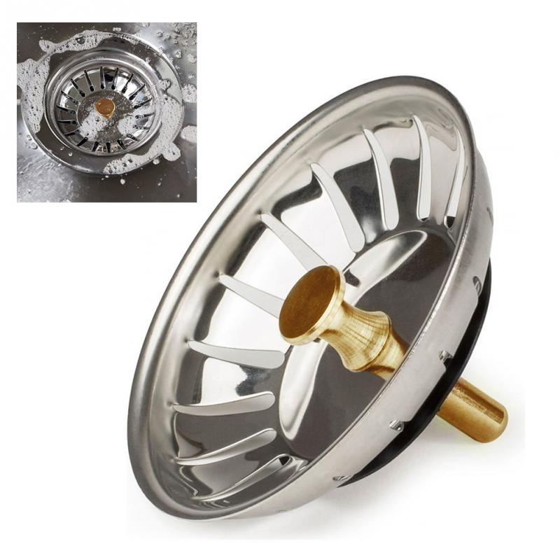 1pc Stainless Steel Kitchen Sink Strainer Stopper Waste Plug Sink Filter Bathroom Basin Sink Drain Kitchen Accessories