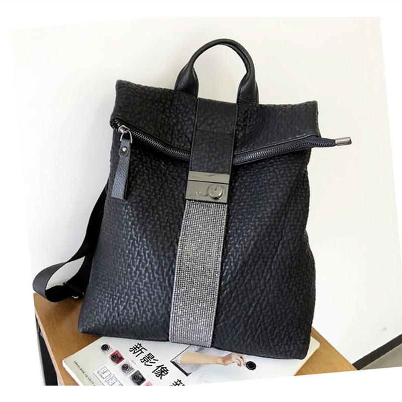 النساء على ظهره عالية الجودة الأغنام الجلد حقيبة كتف أسود حقيبة ظهر مصنوعة من الجلد للنساء خمر حقيبة السفر