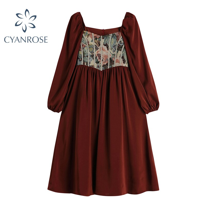 Romantic French Dress 2021 Spring Vintage Mori Girl Mid Long Frocks Female Long Sleeve Fashion Loose Holiday Party Club Dresses