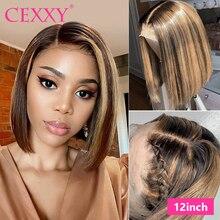 Destaque ombre peruca de cabelo em linha reta peruca dianteira do laço 13*4 curto bob perucas para preto feminino remy cabelo loiro destaque perucas de cabelo humano