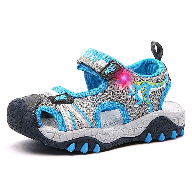 Dinosaur Children's Shoes Sandals Boys Luminous LED Closed Toe Breathable Kids Cut-outs Beach Sandals