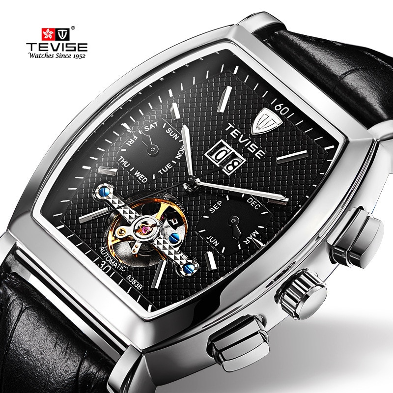 Reloj TEVISE Tourbillon Calendario de fecha para hombre relojes mecánicos automáticos reloj de lujo a prueba de agua de diseño Retro de cuero
